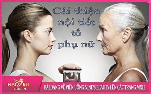 Bài đăng về Viên uống Nine's Beauty lên các trang MXH